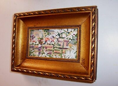 """Miniature """"Pam Calore"""" Watercolor Painting- Listed California Artist - Signed"""