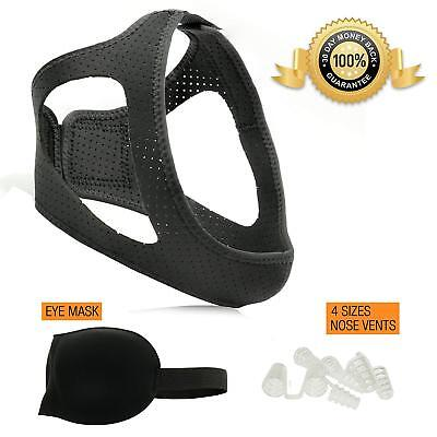 Anti Snoring Devices Set Chin Strap Sleep Mask 4 pr Nose Vents Snore Relief Lot