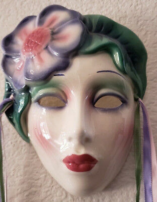 "Vintage Original Clay Art San Francisco About Face Ceramic ""HIBISCUS"" Wall Mask"