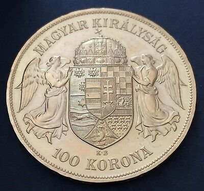 1908 Hungary Gold 100 Korona Coin 33.87g  yellow Gold