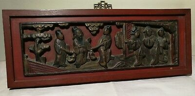 Antique Qing Dynasty hand carved a group of figures wooden Panel S43x17CM