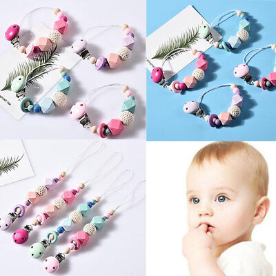 Wooden Infant Baby Pacifier Chain Silicone Beads  Soother Holder Dummy Clasps