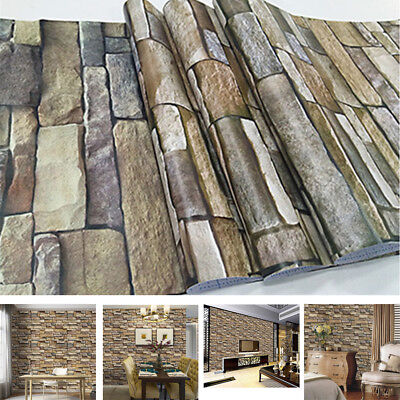 Self-adhesive 3D Style Wall Paper Decorative Paster Stickers Stone Stripe