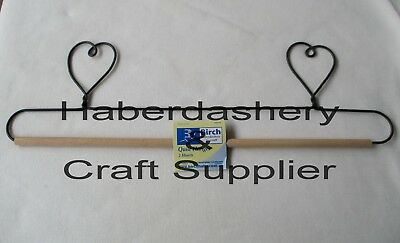 "Birch Quilt Hanger Decorative Wire With Dowel Rod 16"" *2 Hearts"