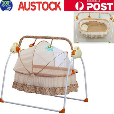 Electric Baby Cradles Bed Auto Swing Baby Crib Cradle Rocking Chair Sleep Bed OZ