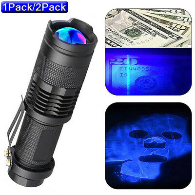 1~2pcs High Powered UV Lamp Black Light Ultra Violet Flashlight 365nm 5W LED US