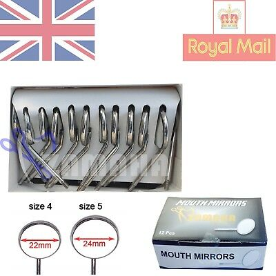 Dental Mouth Examination Mirror Heads No 4 Plain 12Pcs -Mouth Mirror Handle Free