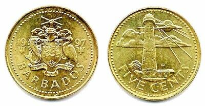 100 Barbados 5 Cents Coins Uncirculated Brass, KM 11 South Point Lighthouse 1997