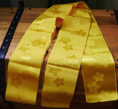 "Kiryu woven textile Japanese obi textile golden yellow floral 6""x10' for crafts"
