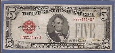 1928 C $5 United States Note (USN),Large Red Seal,circulated VF (stain),Nice!