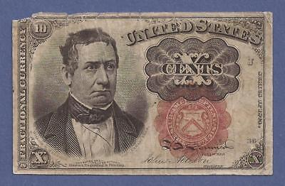 1874-1876 5th Issue 10¢ Fractional Currency,FR 1266,Meredith,Fine,Nice!