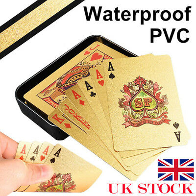 Waterproof Gold Poker Playing Cards Plastic PVC Creative Gift Durable + Case