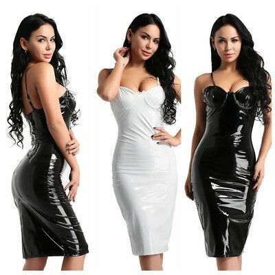 Sexy Women's Sleeveless Wet Look Bodycon Cocktail Party Mini Dress Evening Club