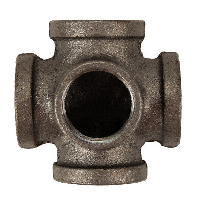 3/4 inch 5-Way Tee Side Outlet BLACK Malleable Cast Iron fitting pipe NPT