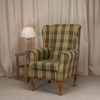 High Wing Back Fireside Chair Pampas Tartan Fabric Easy Armchair Queen Anne Legs