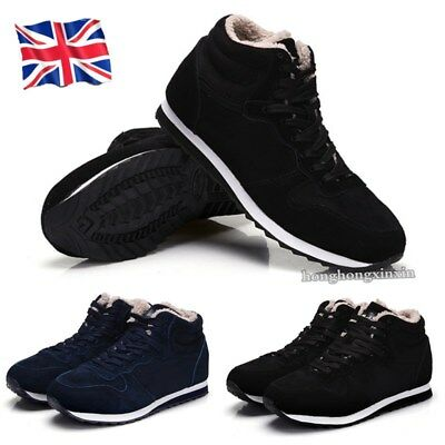 UK Men Winter Shoes Snow Boots Fashion Outdoor Plush Thermal Fur Lined Size