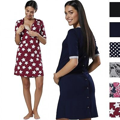 Happy Mama Women's Maternity Nursing Delivery Hospital Cut Out Nightshirt 120p