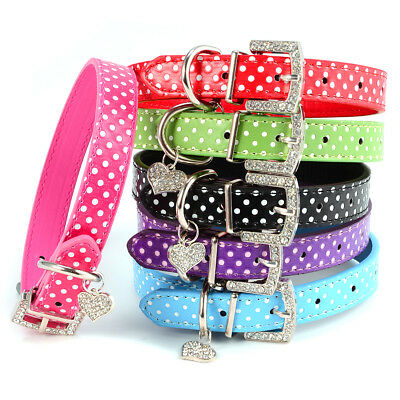 Collier pour chien chat animaux harnais PU cuir en strass dot polka