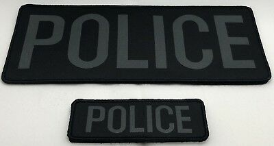 Police Woven Bag Patch x 2 (LG & SM), Grey Text on Black, Hook Rear