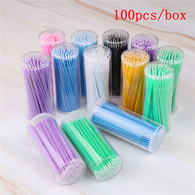 100 Pz 13 Colori Applicatore Tampone Micro Brush Ciglia Extension Mascara Tools*