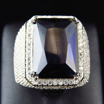 Men Women Big Rectangular Cubic Zirconia Plated Finger Ring Jewelry Party Eager