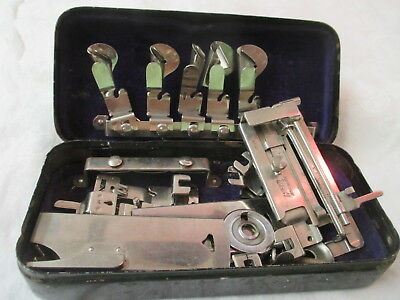 Vintage Sewing Machine Attachments black metal Box Greist & others