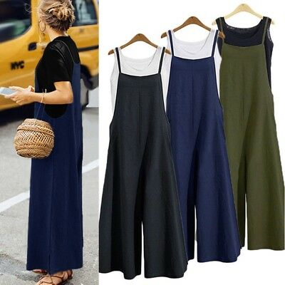 Plus Size Women's Loose Strappy Jumpsuits Casual Dungaree Harem Overalls Pants