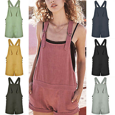 Womens Harem Dungaree Overall Jumpsuit Strap Denim Look Pants Shorts Playsuit