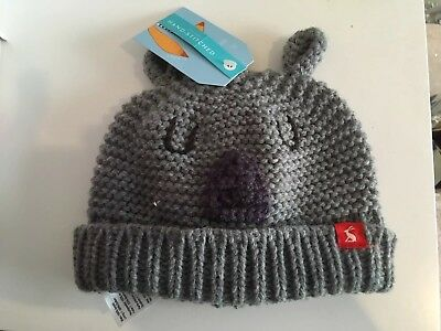 Joules Baby Bear Hat Grey Knitted. 0-6 Months BNWT