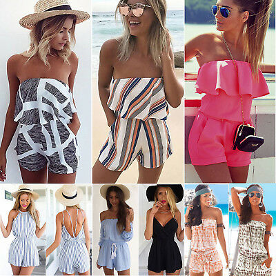 UK Womens Summer Off Shoulder Mini Playsuit Ladies Casual Holiday Beach Jumpsuit