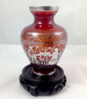 Antq/Vtg Cranberry Glass Vase With Exquisite Heavy Silver Overlay Garden Scene