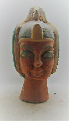 Scarce Ancient Egyptian Stone Statue Fragment. Repainted. Pharoah's Head