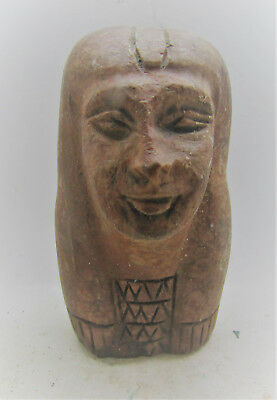 Beautiful Ancient Egyptian Head Of Servant Stone Carving