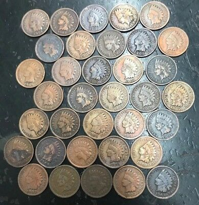 Lot Of 35 IndiIan Head Cents G-VG