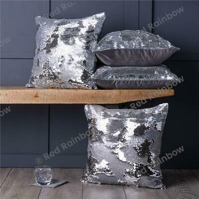 Set of 4 Silver / Grey Mermaid Sequin Sparkle Bling 18 inch Cushion Covers