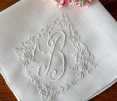 Fine Vintage Madeira Hand Embroidered Linen Hanky Monogram B  with Bows