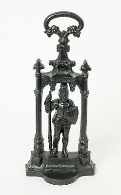Heavy Cast Iron Black Painted Doorstop with Knight & Handle - Victorian Shape