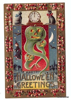 Antique Halloween Greetings Embossed PostCard Flying Pumpkins Witches Cats Bats