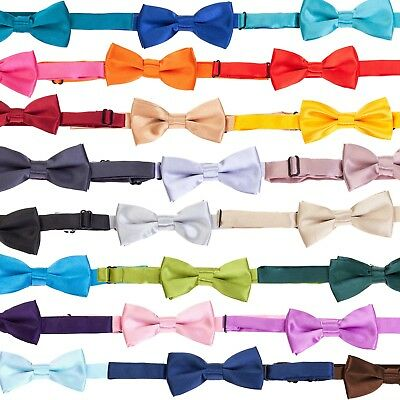 Tie Co Kids / Children's Small Pre Tied Bow Tie - Range of Plain Colours + Black