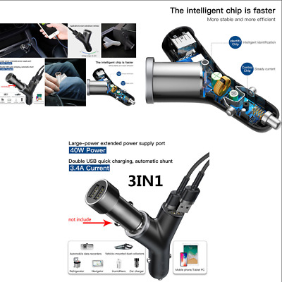 Y Type Black Dual USB Port Charger + Cigarette Lighter for Electronic Equipment