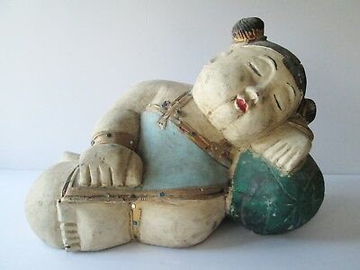 "LARGE 14"" Vintage Carved Chinese Sleeping Girl Statue with Pillow Wood China"