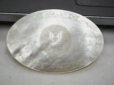 Antique Chinese  Mother Of Pearl Armorial Gaming Counters Chip