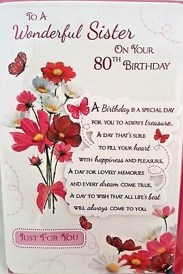 80th SISTER BIRTHDAY CARD AGE 80 FLORAL DESIGN QUALITY LOVELY VERSE