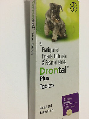 Drontal plus Dewormer for Dogs Puppies TAPE AND ROUND WORMS 2/4/8/16/32 Tablets