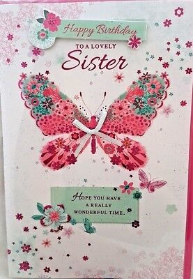 Sister Birthday Card Butterfly Design Quality Lovely Verse