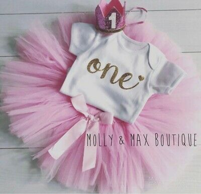 Luxury Girls 1st First Birthday Tutu Skirt Outfit Cake Smash Gold Pink Crown One