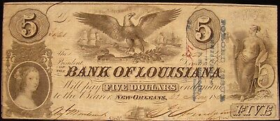 Rare 1862 Bank Of Louisiana (New Orleans) $5.00 Note. Confederate Currency