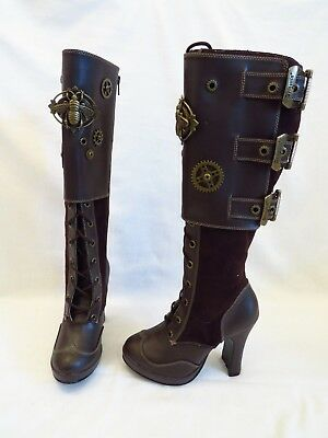 DEMONIA STEAMPUNK BOOTS with Cogs & Buckles, Brown and Brass