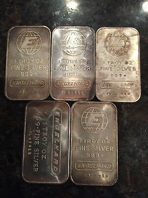 "Lot Of 5 ""engelhard"" 1 Troy Oz. .999+ Fine Silver Bars"