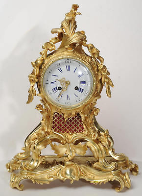 FINE and LARGE ROCOCO ORMOLU CLOCK BY VINCENTI ANTIQUE FRENCH C1860
